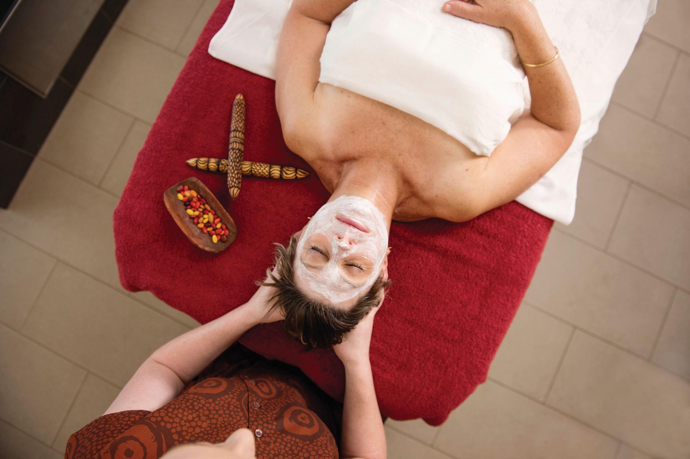 A woman enjoying a spa