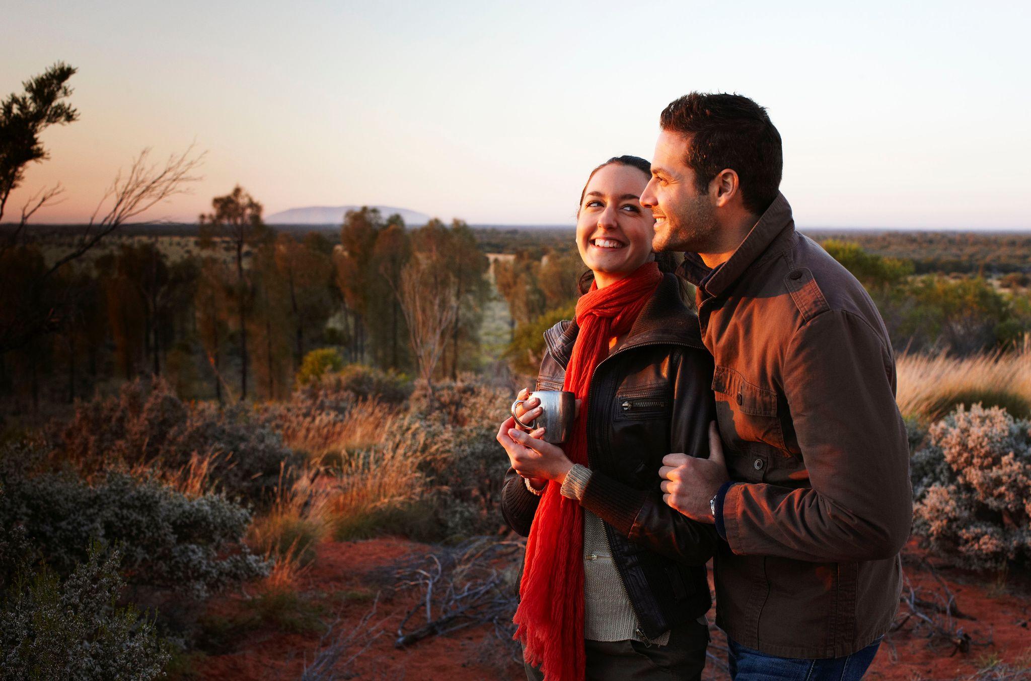 happy couple at Desert Awakenings at Ayers Rock Resort