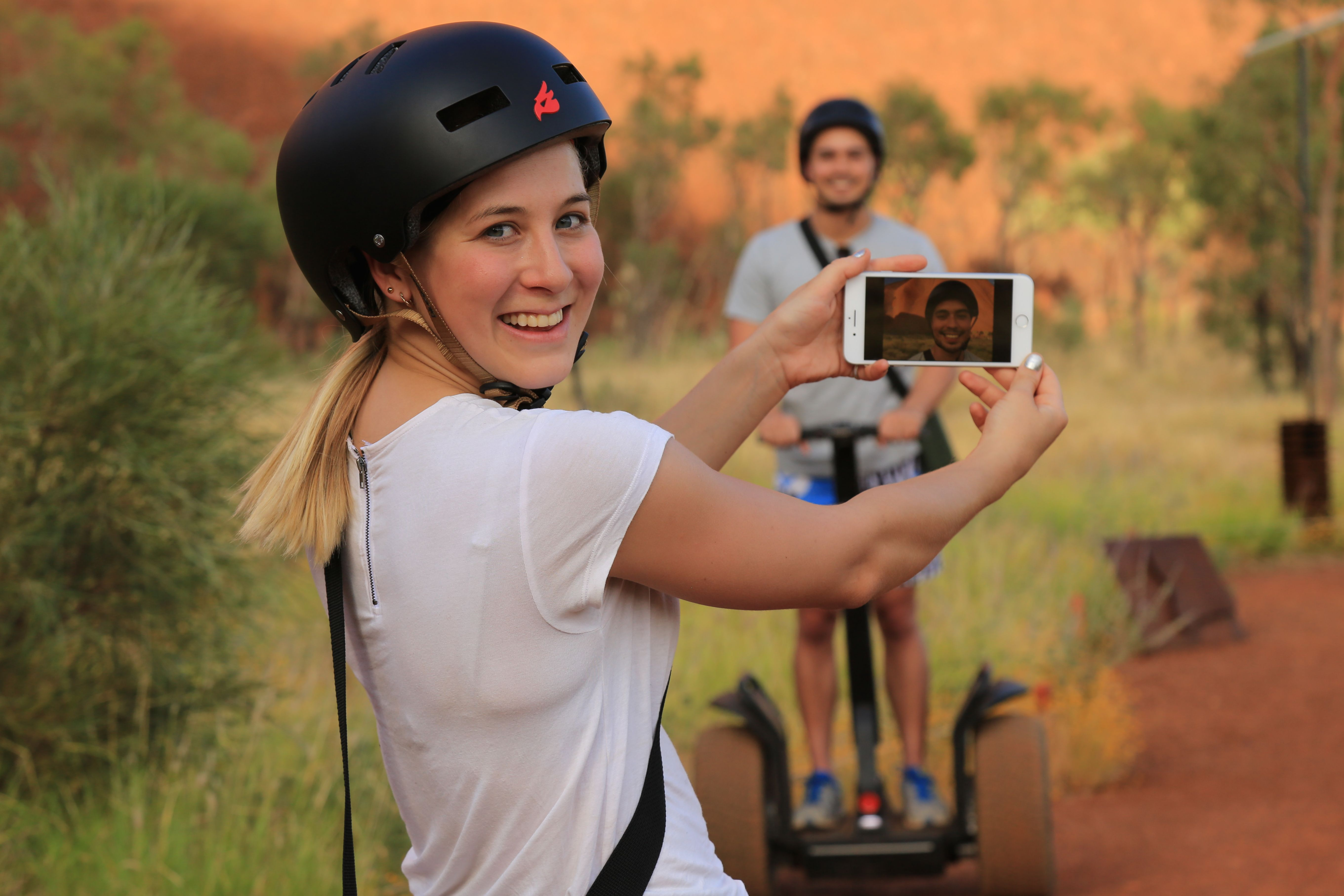 taking a photo on a segway