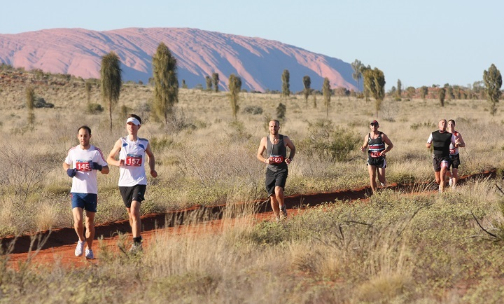 marathon runners in the outback