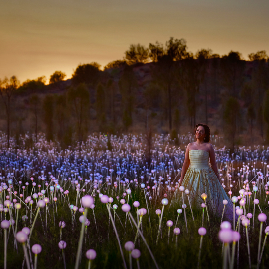 Woman in a dress in a field