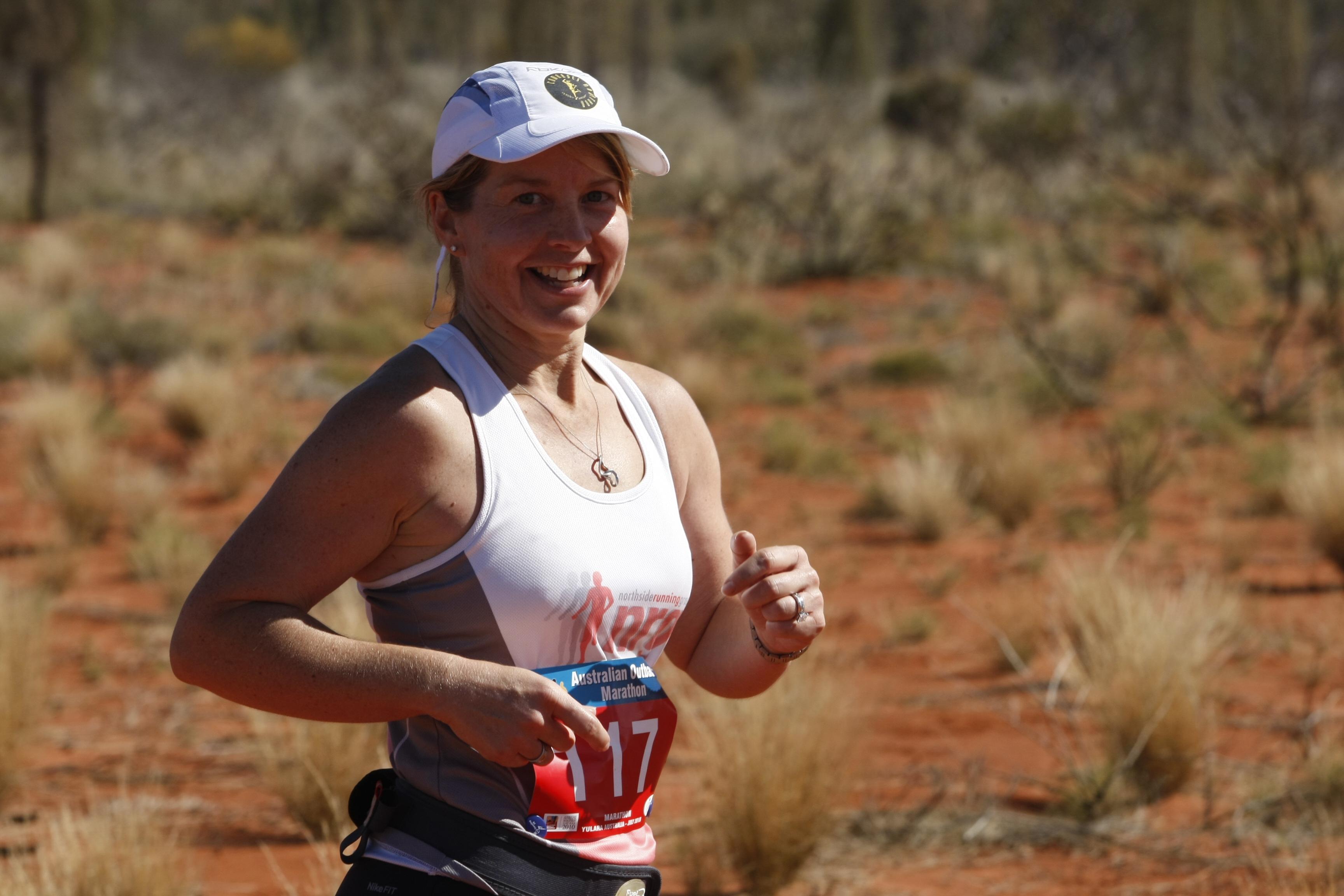 A Woman runs is the Australia Outback Marathon