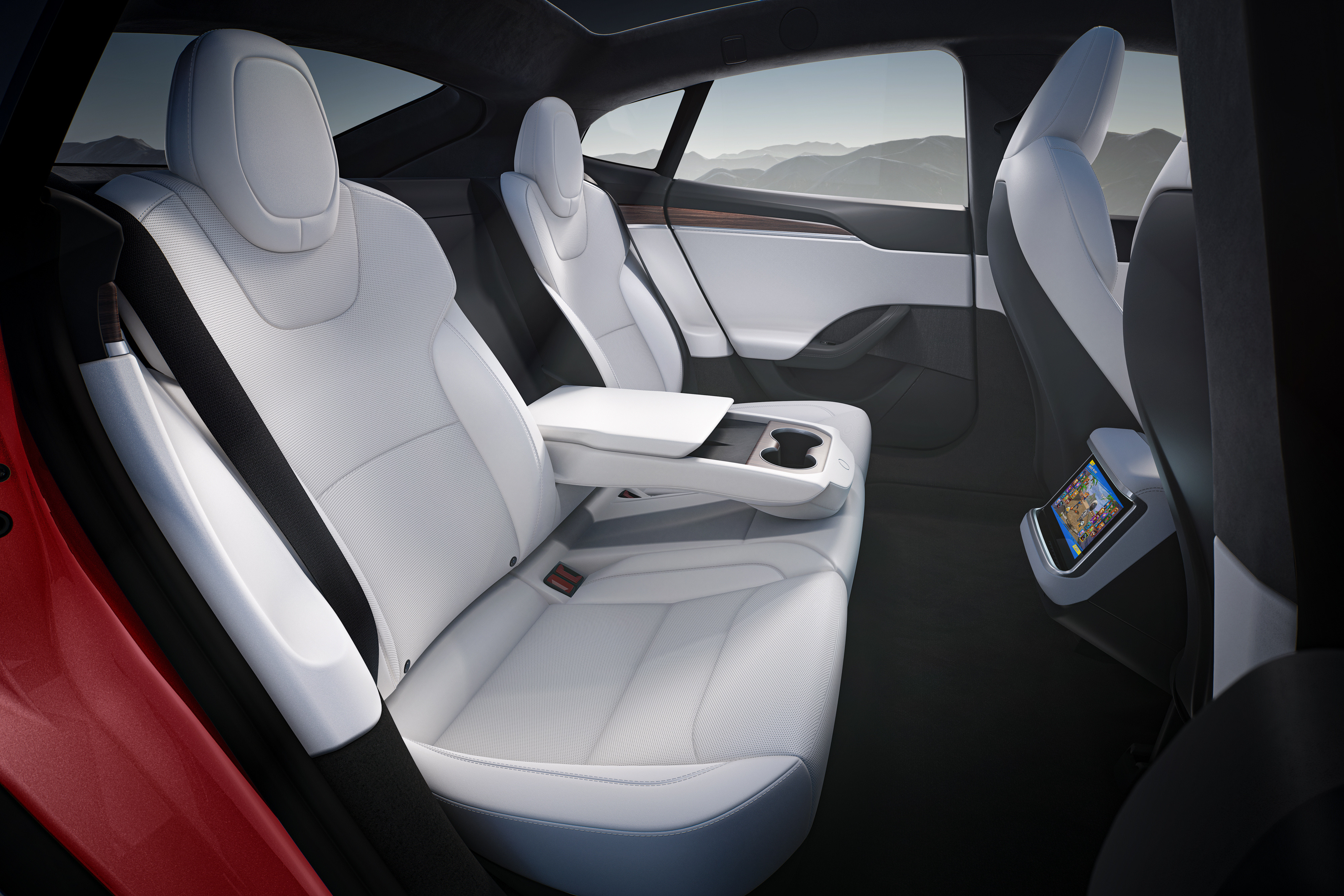 Backseat of Tesla Model S
