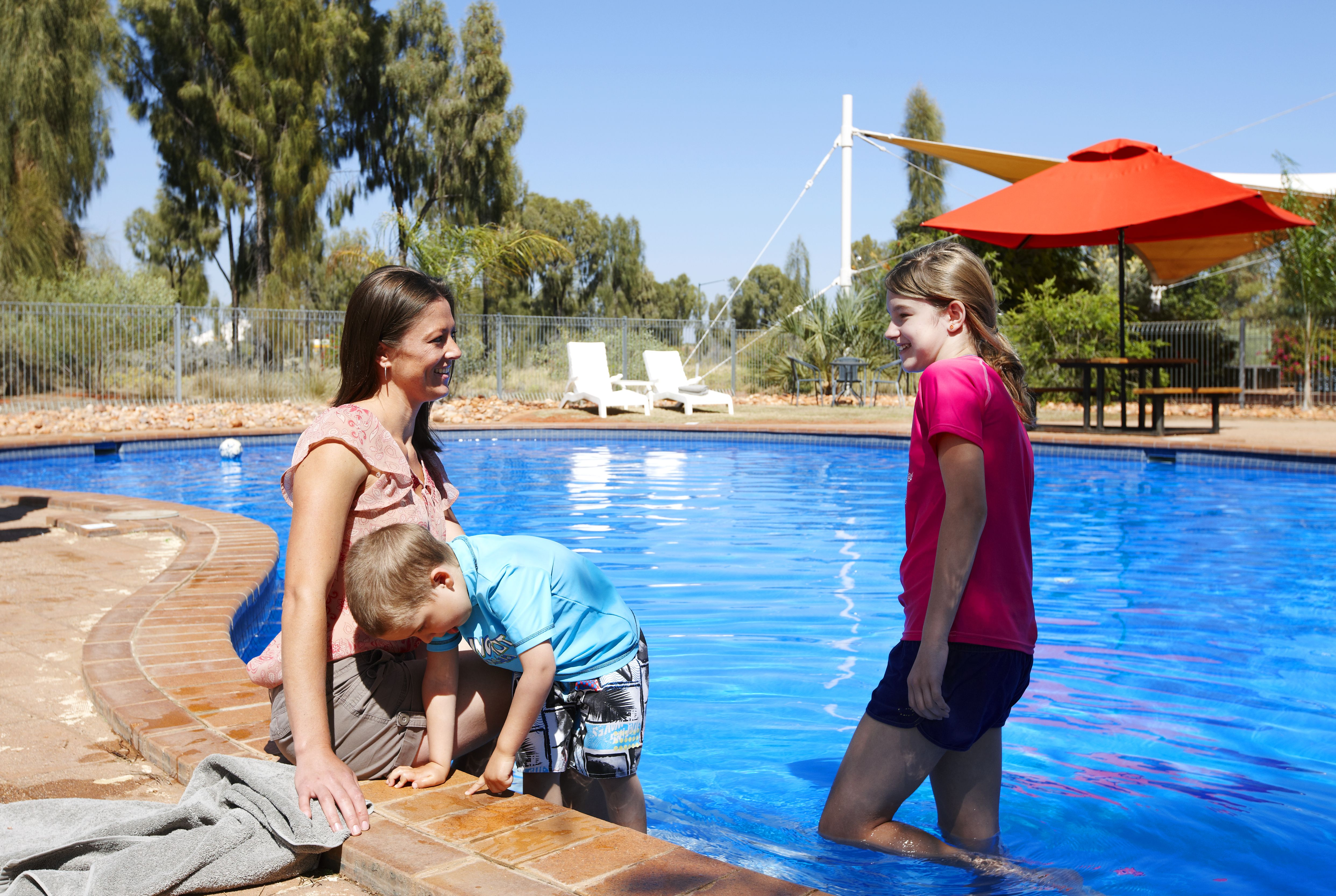 A family at the pool
