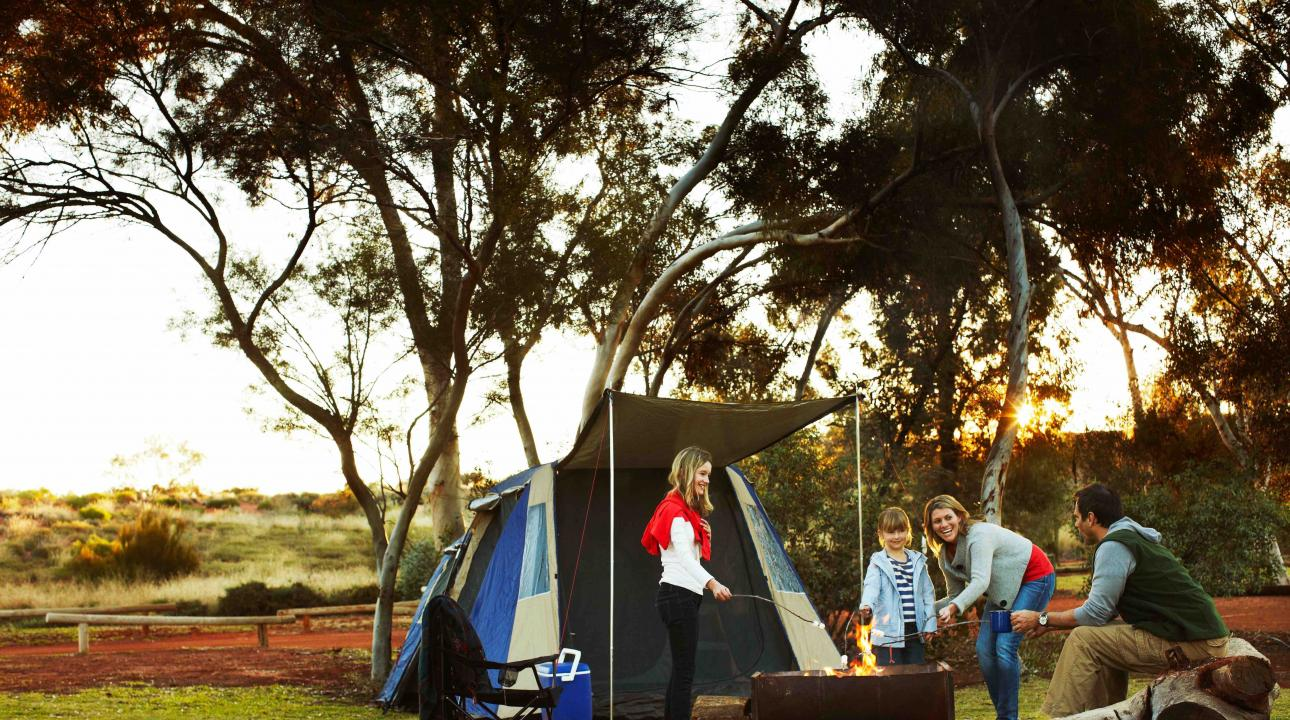 family at a campsite in Australian outback