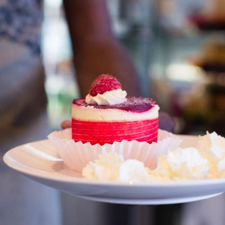 Raspberry desert cake at Kulata Academy Cafe