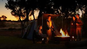 camping at night in the outback