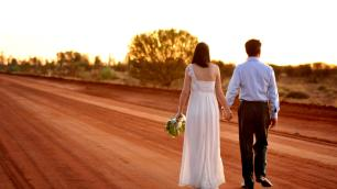 newly married couple in the outback